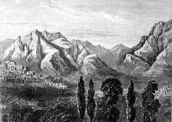 A view of Kermanshah in mid 19th century- toward south, Farokhshad Mt. and Wasi Mt. are visible at background