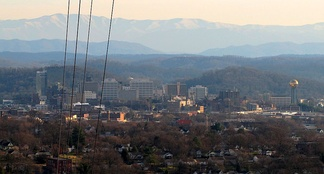 Downtown Knoxville, with the Great Smoky Mountains rising in the distance, viewed from Sharp's Ridge