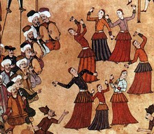Köçek troupe at a fair. Recruited from the ranks of colonized ethnic groups, köçeks were entertainers and sex workers in the Ottoman Empire.
