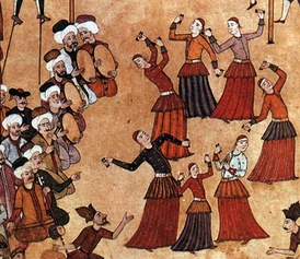 """Köçek troupe at a fair"" at Sultan Ahmed's 1720 celebration of his son's circumcision. Miniature from the Surname-i Vehbi, Topkapı Palace, Istanbul."