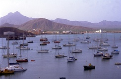 Yachts in Porto Grande, Mindelo on the island of São Vicente. Tourism is a growing source of income on the islands.