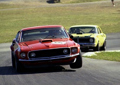 Allan Moffat in the Ford Boss 302 Mustang at Lakeside International Raceway