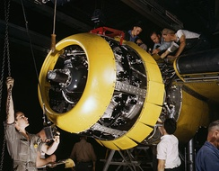 Mounting of a Wright R-2600 Twin Cyclone engine on a North American B-25 Mitchell bomber, 1942