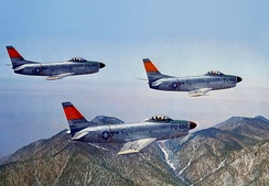 The fifth F-86D for the USAF in formation with two other early production aircraft