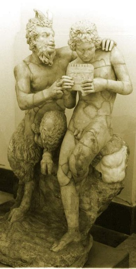 Sculpture of Pan teaching Daphnis to play the pipes; c. 100 BCE Found in Pompeii.