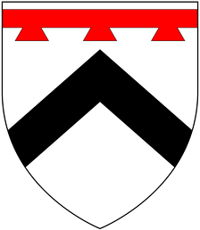 Arms of Prideaux: Argent, a chevron sable in chief a label of three points gules[1]