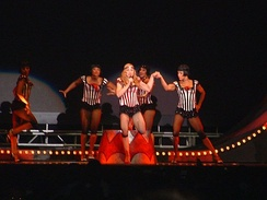 "Madonna performs ""Hanky Panky"", which was included on the cabaret segment of the tour"