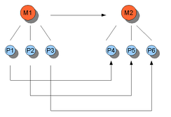 An illustration of multiple realizability. M stands for mental and P stands for physical. It can be seen that more than one P can instantiate one M, but not vice versa. Causal relations between states are represented by the arrows (M1 goes to M2, etc.).