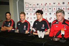 Kaká (second from right) at Milan with Ronaldinho and David Beckham to his right. The three players have a large fan base on social media.[231]