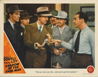 Sam Levene as Police Lt. Abrams, (far right), William Powell as Nick, (center) lobby card for MGM's Shadow of the Thin Man (1941)