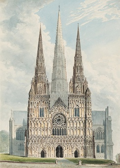 The three-spired Lichfield Cathedral was built between 1195 and 1249