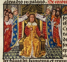 The coronation of Alexander depicted in medieval European style in the 15th century romance The History of Alexander's Battles