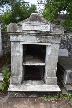 Open vaults on a tomb at Lafayette Cemetery No. 1. The caveau at the bottom of the tomb is visible.