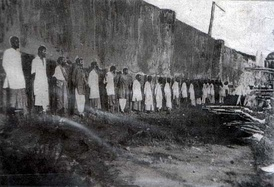 The public executions of convicted sepoy mutineers of the 1915 Singapore Mutiny at Outram Road, Singapore.