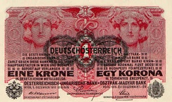 Hyper inflation led to a change of currency from the old Krone (here marked as German-Austrian) to the new Schilling in 1925