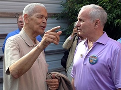 "Julian Bond and Governor Mark Dayton at a ""Vote No"" rally in June 2012."