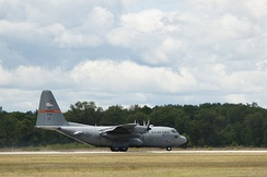 169th AS C-130 landing at Grayling Army Airfield during Exercise Northern Strike 2013