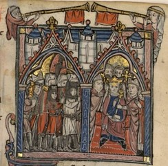 Two bishops place a crown on the head of a man sitting on a throne