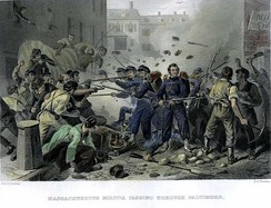 Engraving depicting the Baltimore riot of 1861