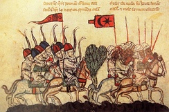 14th-century illustration from a manuscript of depicting the Battle of Wadi al-Khazandar, in which the Mamluks were routed by the Mongol Ilkhanids