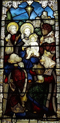 Biblical Magi stained glass window, ca. 1896, at Church of the Good Shepherd (Rosemont, Pennsylvania), showing the three magi with Joseph, Mary, and Jesus