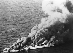 The Iranian frigate IS Sahand burns after being hit by 20 U.S. air launched missiles and bombs, killing a third of the crew, April 1988 [149]