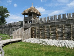 Reconstruction of a Bronze Age, Lusatian culture settlement in Biskupin, c. 700 BC