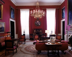The Red Room as designed by Stéphane Boudin during the presidency of John F. Kennedy