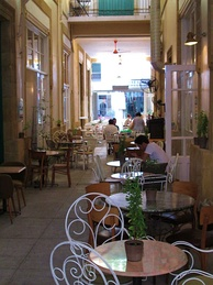Cypriot style café in an arcade in Nicosia