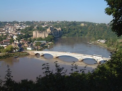 The Wye at Chepstow, showing the castle and the road bridge linking Monmouthshire (on the left) with Gloucestershire