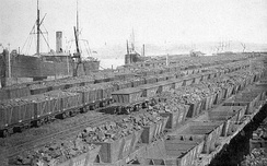 Coal awaiting shipment from Newcastle, 1891