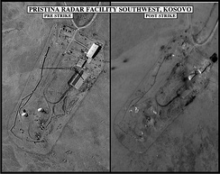 Pre- and post-strike images of destroyed Pristina radar facility.