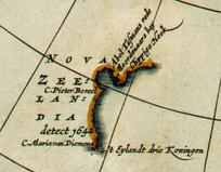 Detail from a 1657 map by Jan Janssonius, showing the western coastline of Nova Zeelandia