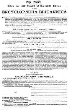 Advertisement for the 9th edition (1898)