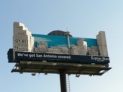 A billboard advertising the San Antonio Express-News