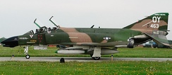 "The Collings Foundation F-4D Phantom II, with Vietnam-era ""Ritchie/DeBellevue"" markings, taxis at Selfridge ANGB, May 2005"