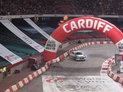 A stage of Wales Rally GB, hosted inside the Principality Stadium