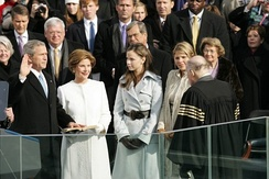 Jenna Bush (second from right) witnesses her father taking the oath on Inauguration Day on January 20, 2005.