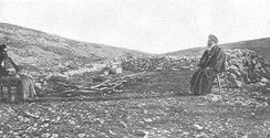 Samaritan worship centre on Mount Gerizim. From a photo c. 1900 by the Palestine Exploration Fund.