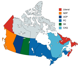 The governing political party(s) in each Canadian province. Multicolored provinces are governed by a coalition or minority government consisting of more than one party.