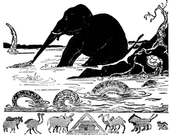 "Woodcut illustration for ""The Elephant's Child"" by Rudyard Kipling"