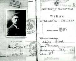 "Student's book (indeks) of Jewish medical student Marek Szapiro at Warsaw University, with rectangular ""ghetto benches"" (""odd-numbered-benches"") stamp"