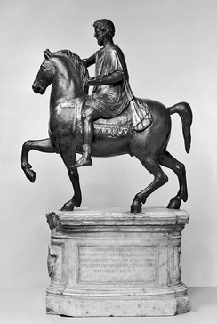 A statue of a member of the equestrian class from 176 CE. This statue is believed to be from the Capitoline Hill in Rome, and is the only equestrian statue that survives.