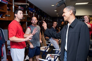 Beckett with President Barack Obama at Busch Stadium