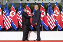 Trump meets Kim Jong-un at the Singapore summit in June 2018