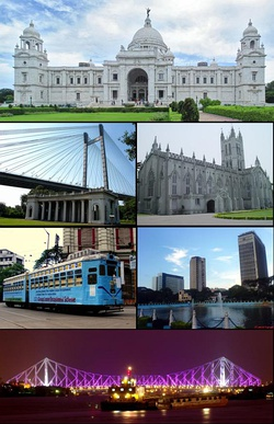Clockwise from top: Victoria Memorial, St. Paul's Cathedral, central business district, Howrah Bridge, city tram line, Vidyasagar Bridge