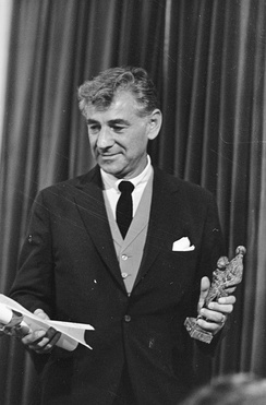 Leonard Bernstein receiving the Edison Classical Music Award in 1968