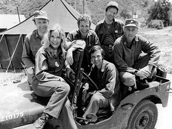 The cast of M*A*S*H from Season 2, 1974 (clockwise from left): Loretta Swit, Larry Linville, Wayne Rogers, Gary Burghoff, McLean Stevenson, and Alan Alda