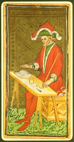 The Magician card from a 15th-century tarot deck.