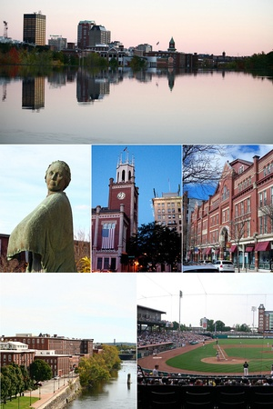 Clockwise from top: Manchester skyline from above Amoskeag Falls, Hanover Street, a Fisher Cats game at Northeast Delta Dental Stadium, the Arms Park Riverwalk and Millyard, the Mill Girl statue at the Millyard, and City Hall.